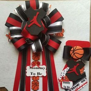 Michael Jordan baby shower corsage/mom&dad set